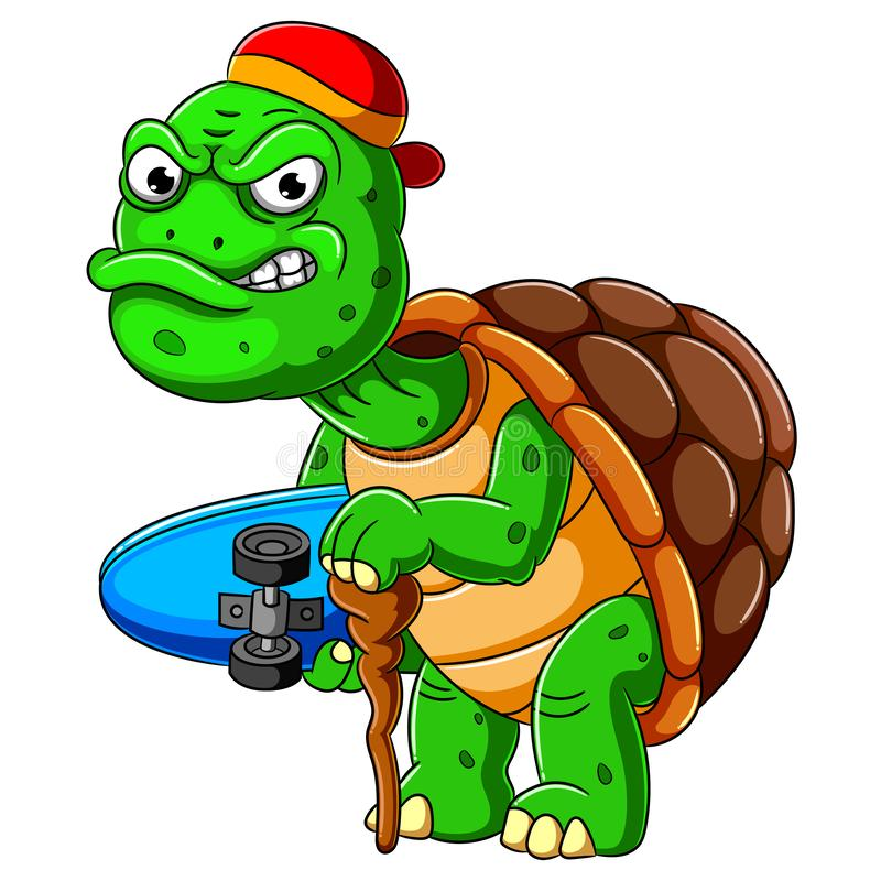 Cartoon old turtle carrying skateboard and holding stick stock photos