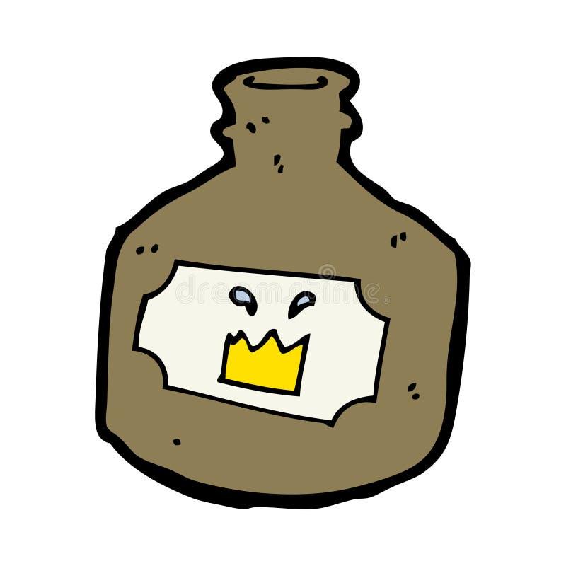 Cartoon Old Whiskey Bottle Stock Vector. Illustration Of