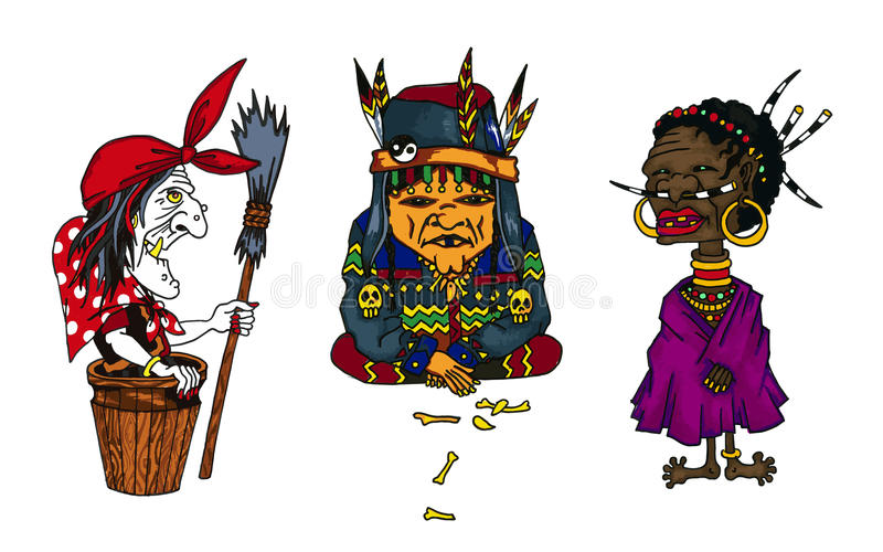 Cartoon old women characters from fairy tales all over the world vector illustration