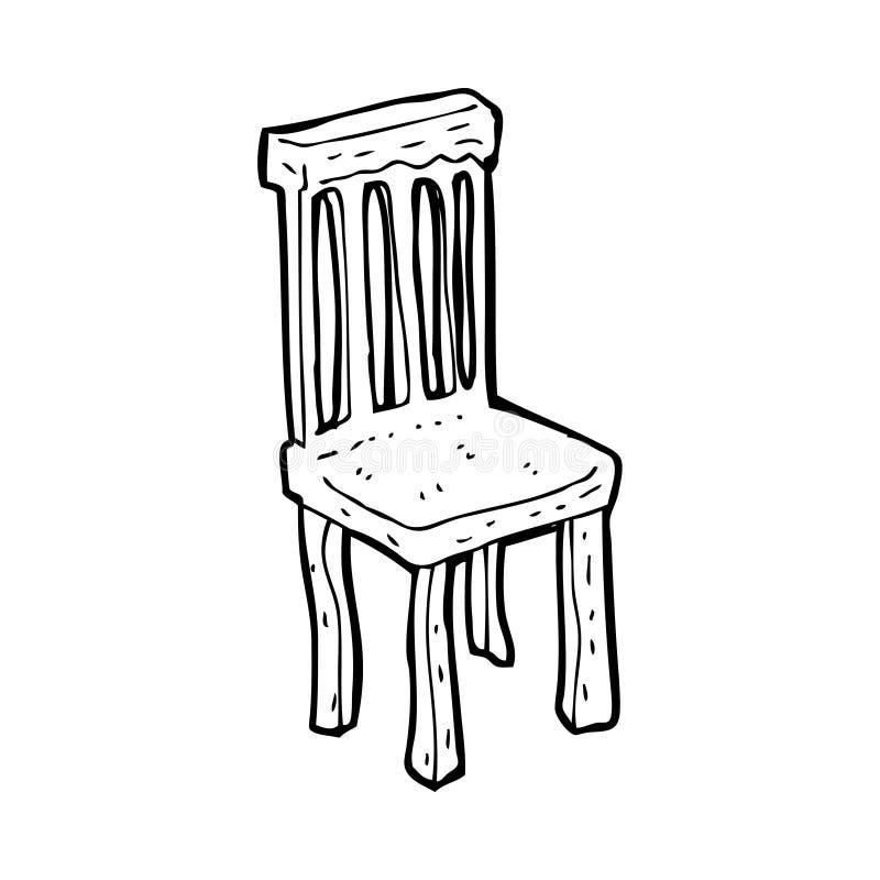 Cartoon old wooden chair stock illustration