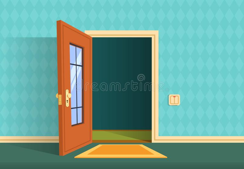 Cartoon open door. Apartment hallway entrance, office lobby. Home entry corridor vector background stock illustration