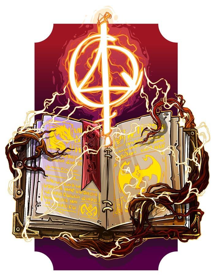 Cartoon open spell book with magic symbol. Cartoon colorful detailed old open magic spell books with dragons, strange fire lightning symbols and bookmark. On stock illustration