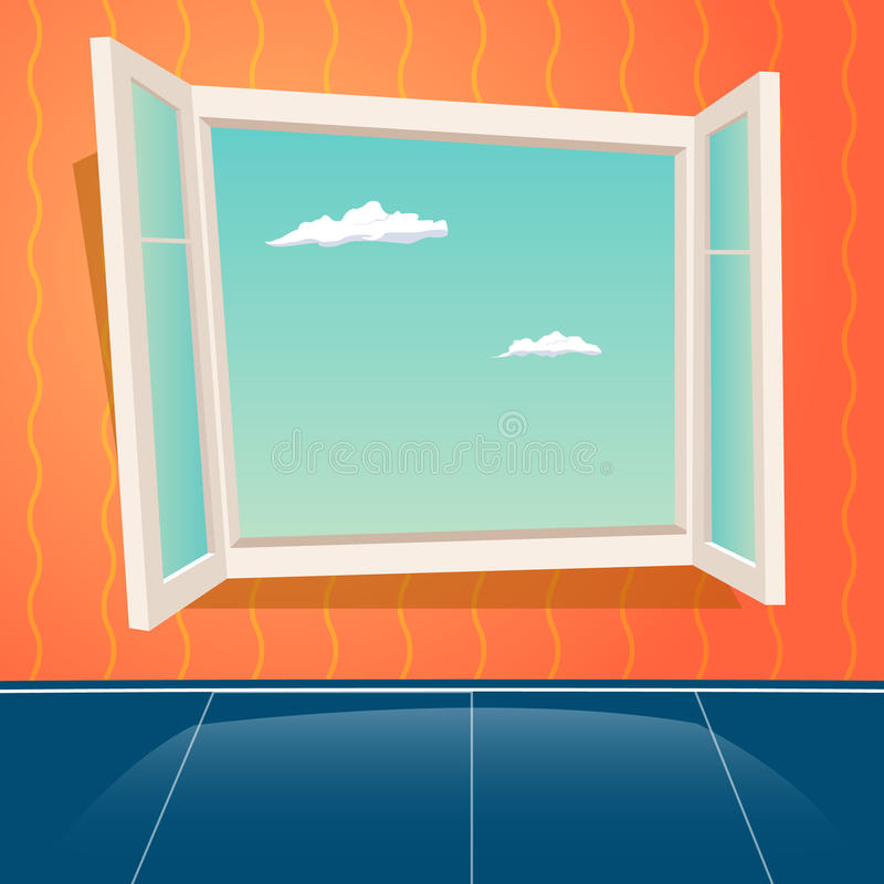 Cartoon open window design template retro background for Window design template