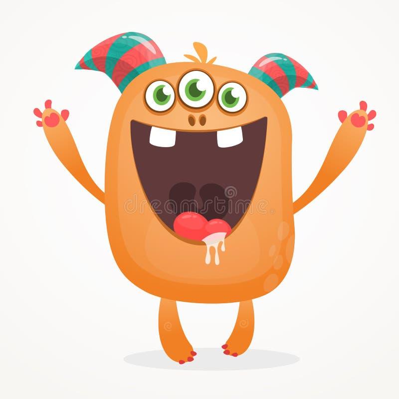 Cartoon orange blob monster. Halloween vector illustration of excited monster. vector illustration