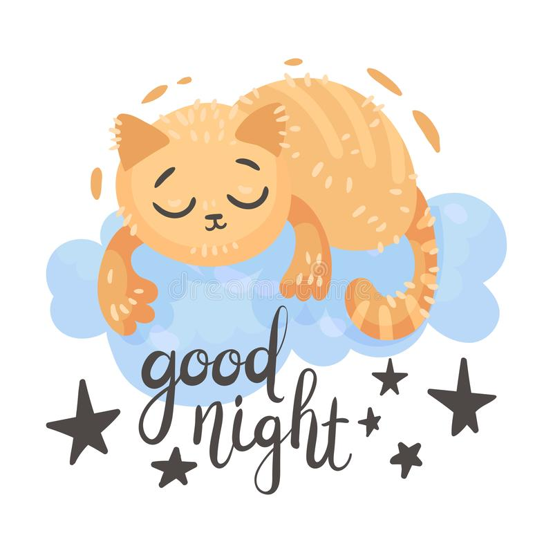 Cartoon orange cat is sleeping on a cloud. Vector illustration on a white background. Cartoon orange cat sleeps on a blue cloud. Lettering Good night. Vector stock illustration