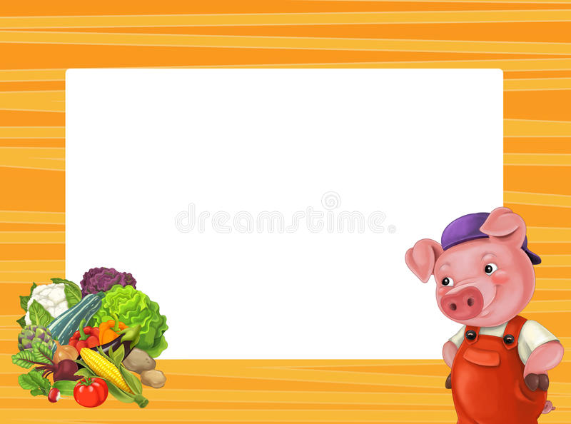 Cartoon orange frame for different usage with space for text stock illustration