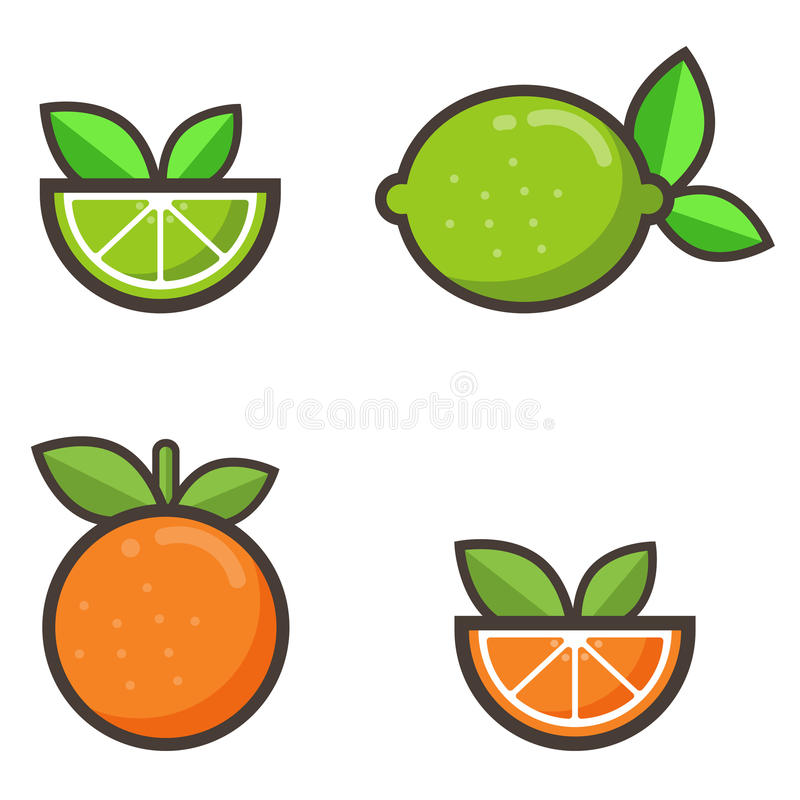 Cartoon orange and lime set stock illustration