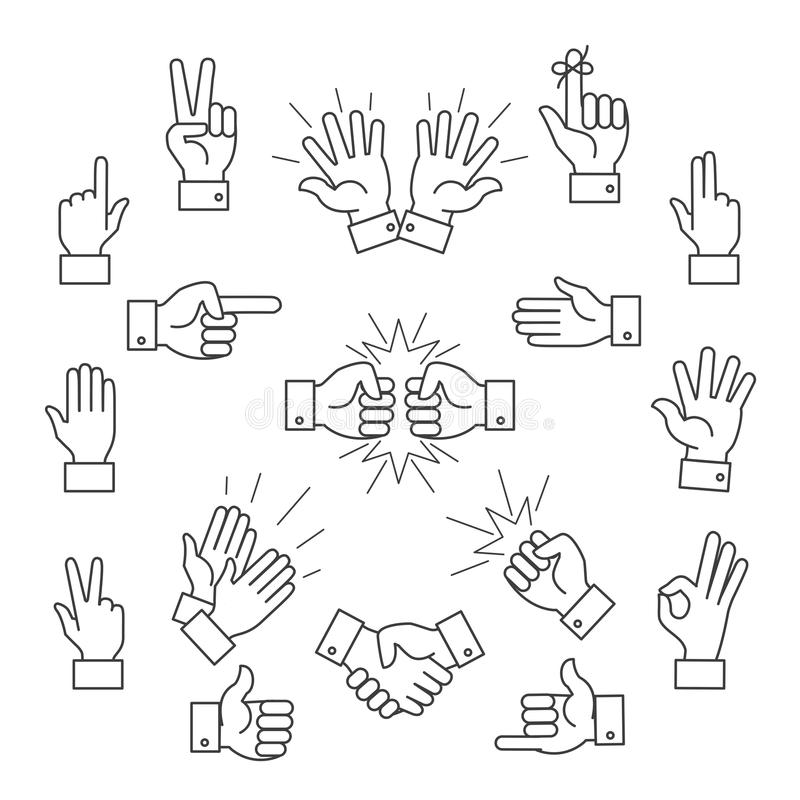 Cartoon outline signs of one hand and two hands. Lined clapping applauding vector icons stock illustration