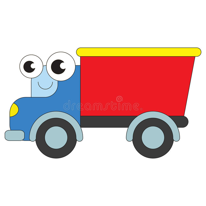 Cartoon outlined transportation. Cute funny lorry cartoon. Outlined vehicle with black stroke royalty free illustration