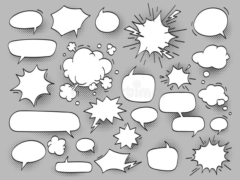 Cartoon oval discuss speech bubbles and bang bam clouds with hal vector illustration