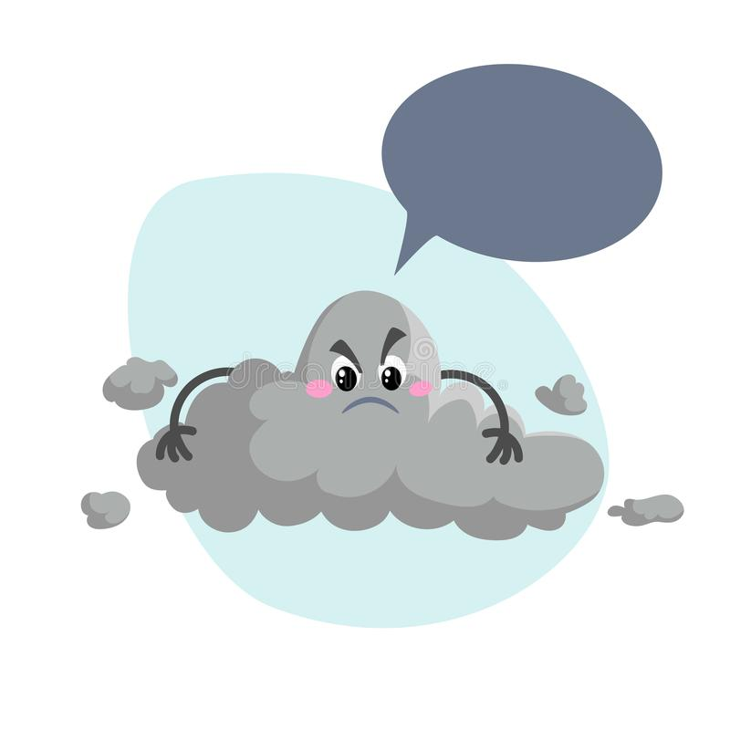 Cartoon overcast storm cloud mascot. Weather rain and storm symbol. Speaking character with dummy speech bubble and little clouds stock illustration