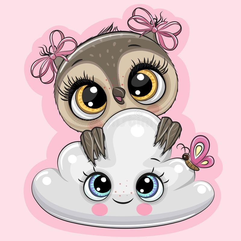 Cartoon Owl with cloud on a pink background royalty free illustration