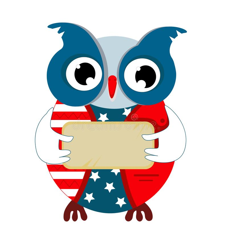 Cartoon owl in the color of the American flag vector illustration