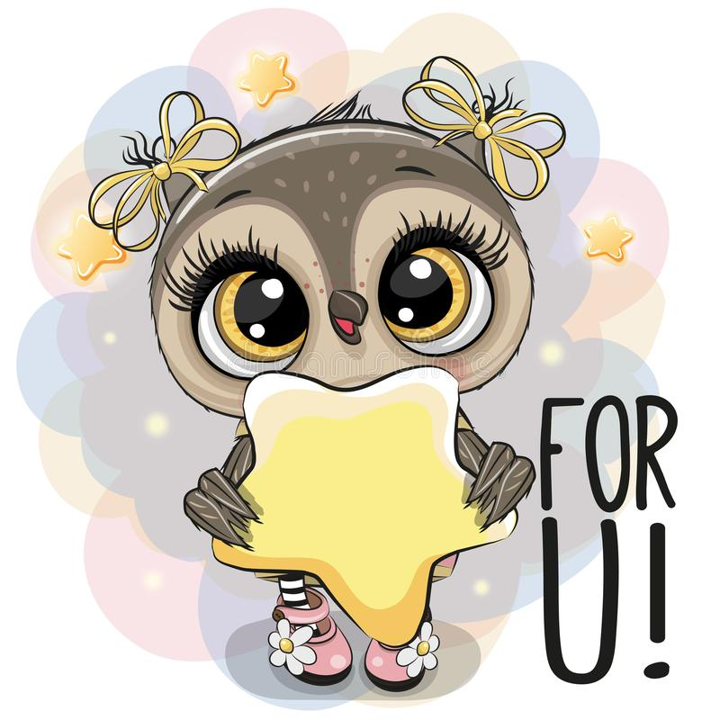 Cartoon Owl girl with star on the stars background. Cute Cartoon Owl girl with star on the stars background royalty free illustration