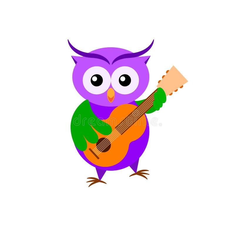Cartoon owl guitarist isolated on white backround. stock photos