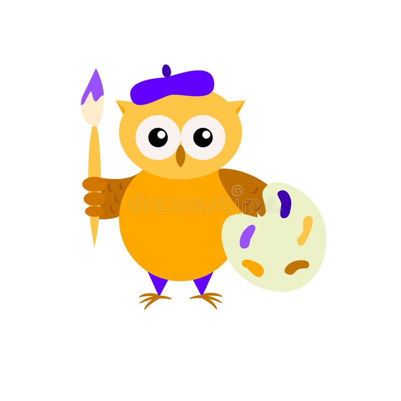 Cartoon owl-painter isolated on white backround royalty free illustration