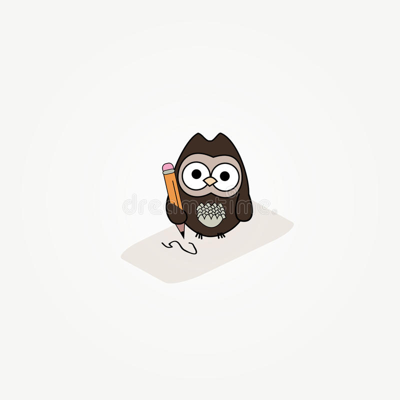 Download Cartoon Owl With Paper And Pencil Stock Illustration - Image: 14799675