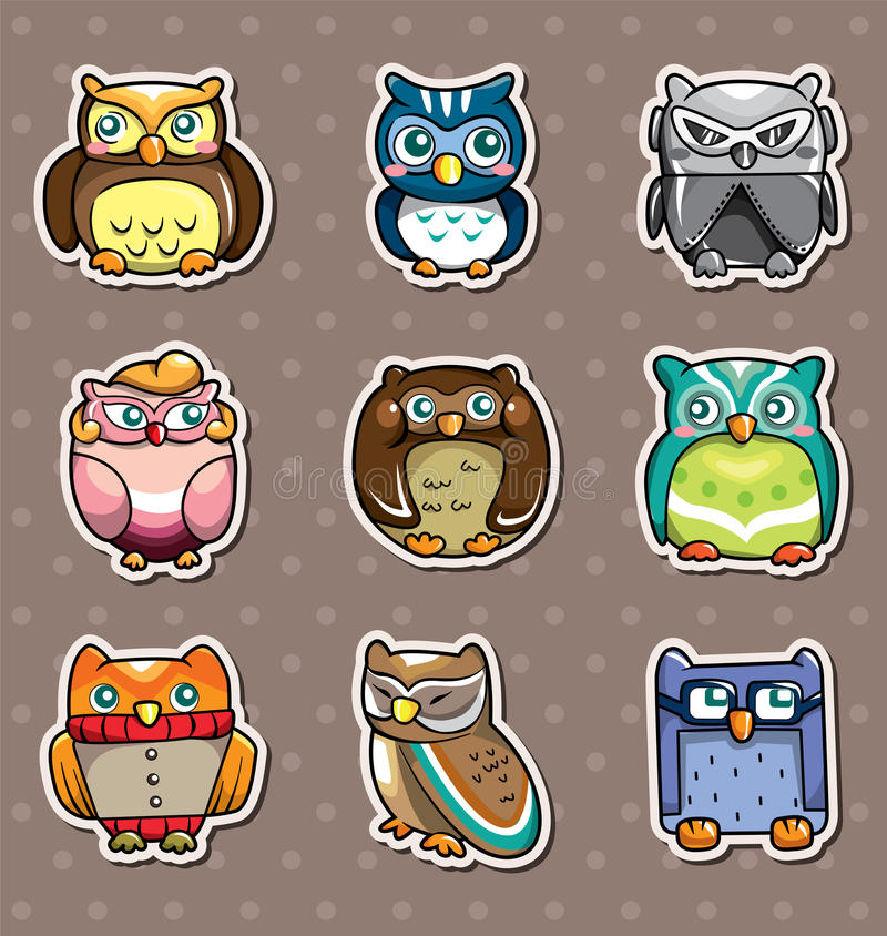 Download Cartoon owl stickers stock vector. Image of isolated - 24551994