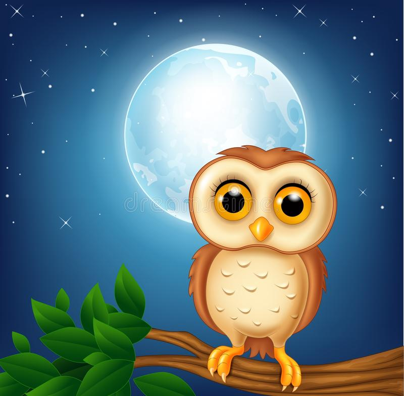 Cartoon owl on the tree branch royalty free illustration