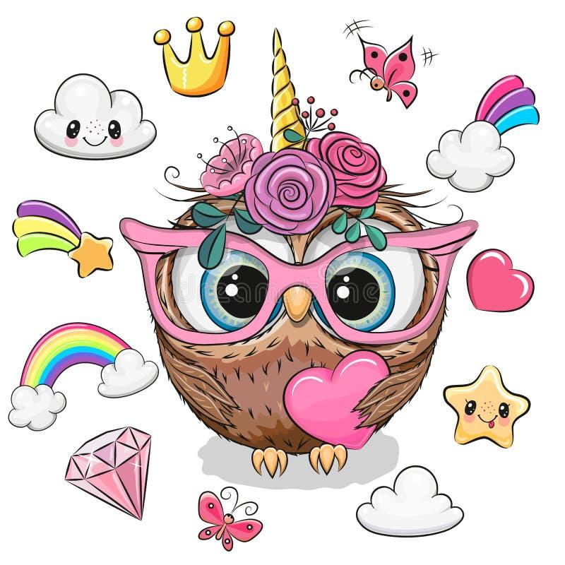Cartoon Owl unicorn girl and set of cute design elements. Cute Cartoon Owl unicorn girl and set of cute design elements vector illustration