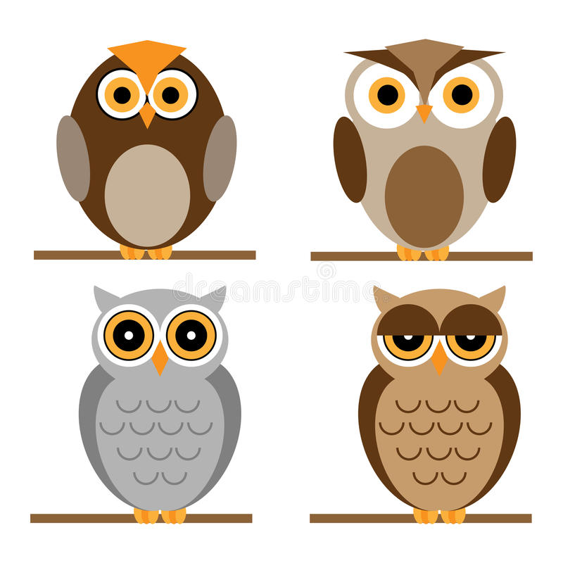 Cartoon owls set royalty free illustration