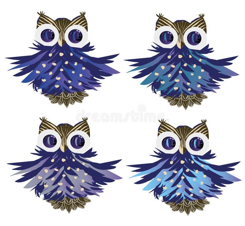 Cartoon owls vector set stock illustration