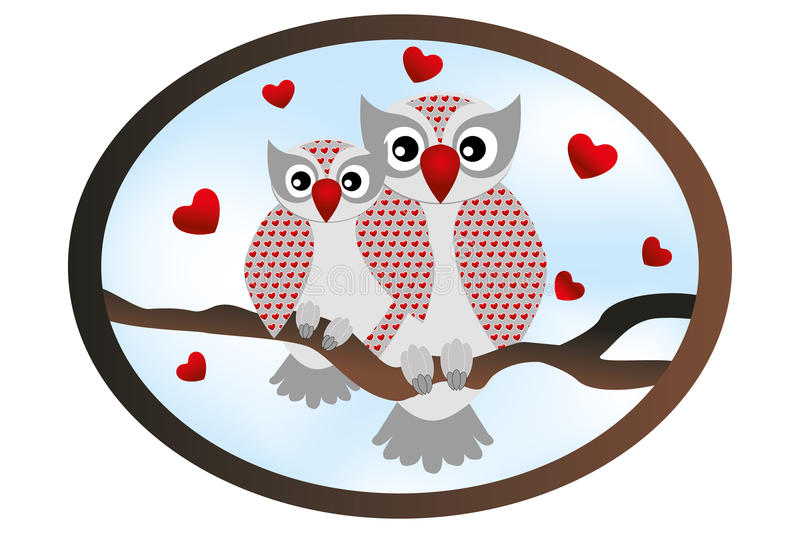 Cartoon owls - Stock illustration. You and me card with cartoon owls royalty free illustration