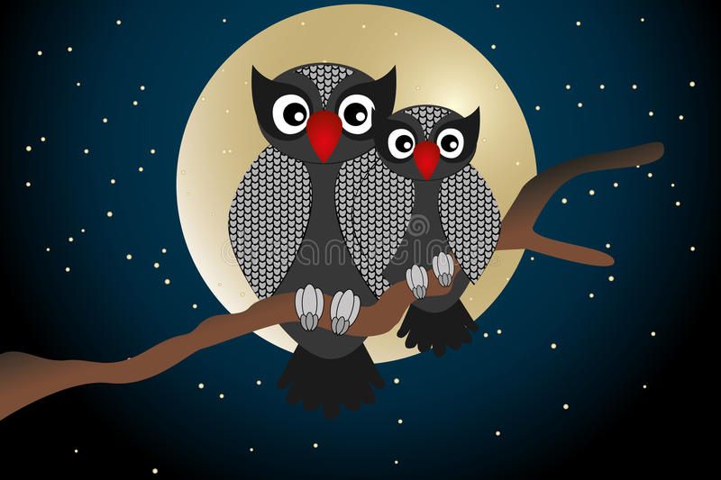 Cartoon owls - Stock illustration. You and me card with cartoon owls stock illustration