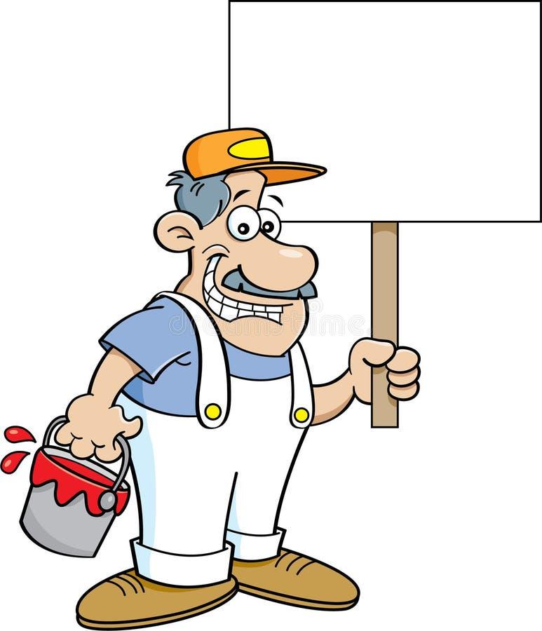 Painter Decorator Sign Stock Vector: Cartoon Painter Holding A Sign. Stock Vector