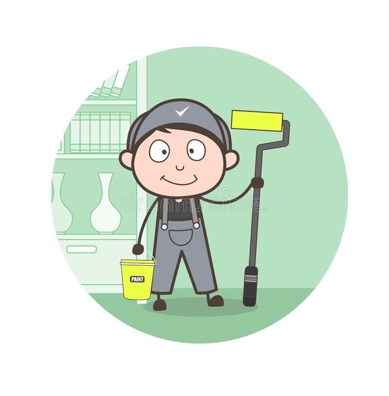Cartoon Painter with Whitewash Equipments Vector Illustration. Cartoon Painter with Whitewash Equipments Vector design vector illustration