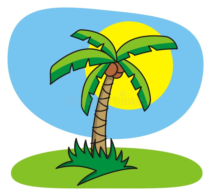 Cartoon palm tree. Cartoon illustration of palm tree vector illustration