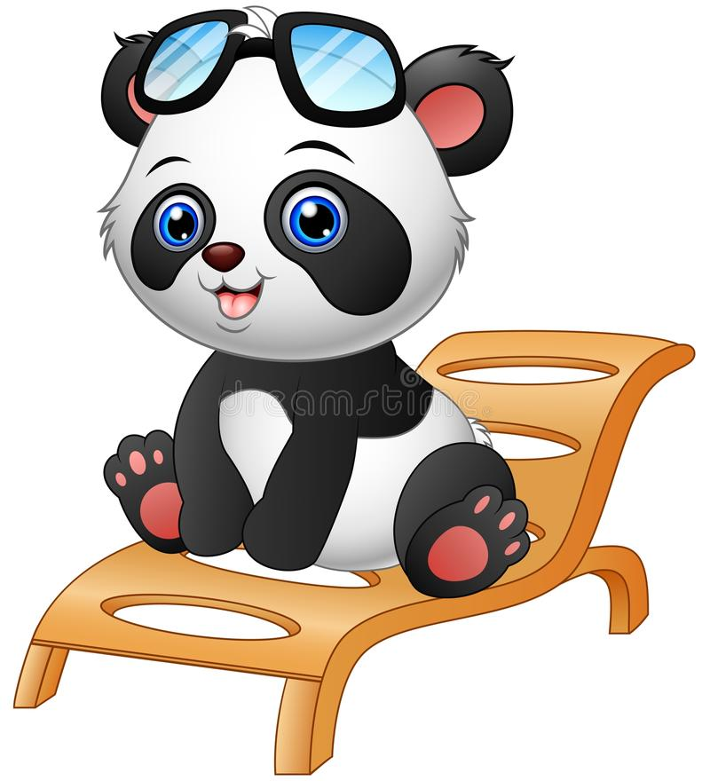 Beau Download Cartoon Panda Bear Sitting On Deck Chair On White Background Stock  Vector   Illustration Of
