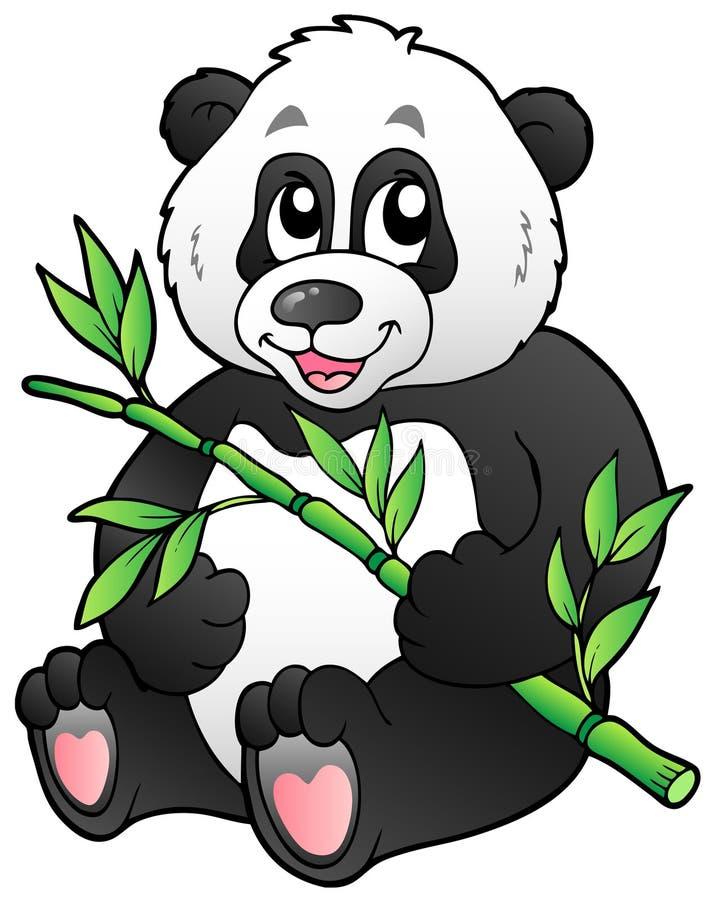 Cartoon panda eating bamboo royalty free illustration