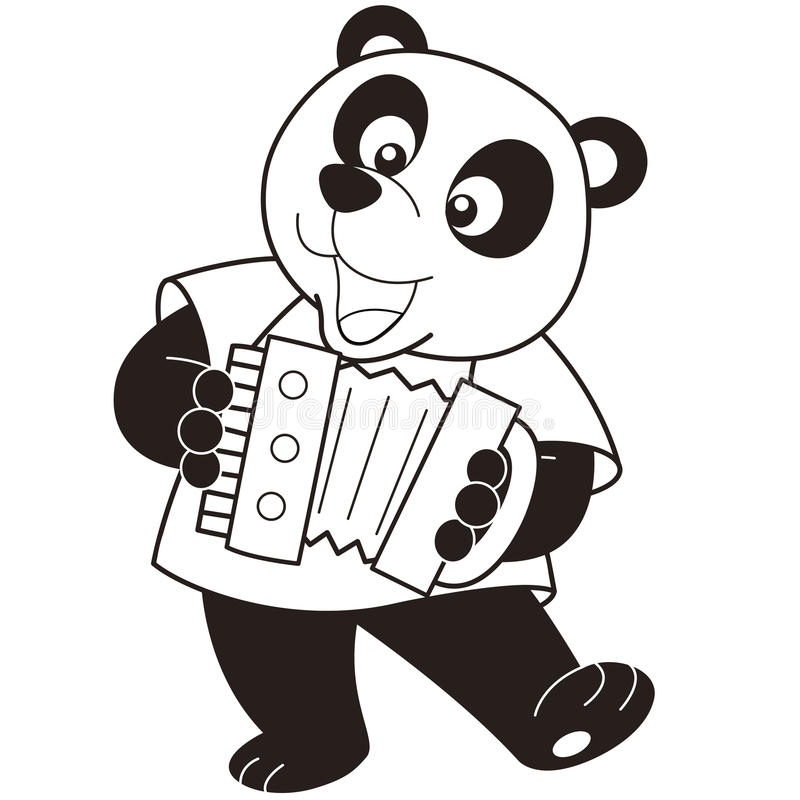 Cartoon panda playing an accordion. Black and white royalty free illustration