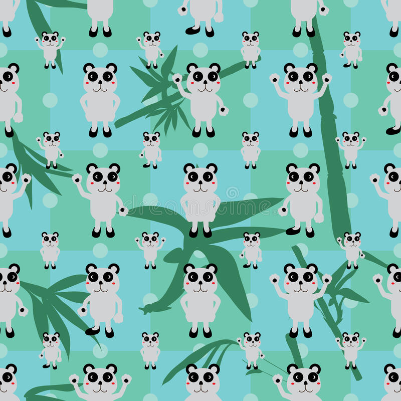 Cartoon panda symmetry bamboo leaf seamless pattern. This illustration is drawing cartoon panda symmetry the bamboo stem and leaves on blue and green color stock illustration