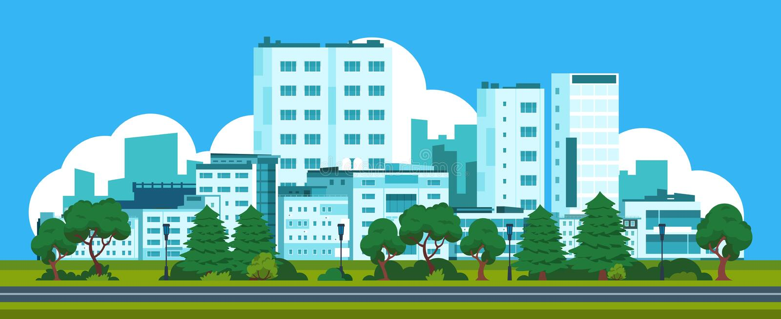 Cartoon panorama city. Park landscape with urban street and houses, cityscape with skyline of office buildings. Vector. Illustrations exterior city house royalty free illustration