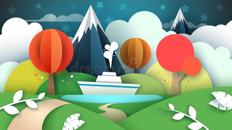 Cartoon paper landscape. Lake, ship, mountain. stock illustration