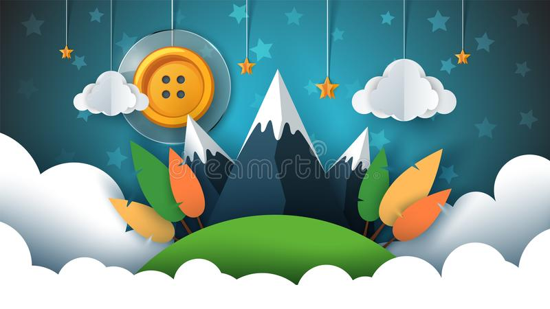 Cartoon paper landscape. Sewing button, sun, star, cloud, sky, mountain, travel. vector illustration