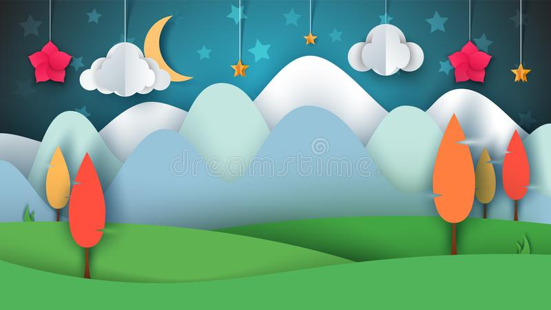 Cartoon paper landscape. Tree, flower, cloud, grass, moon, star. stock illustration