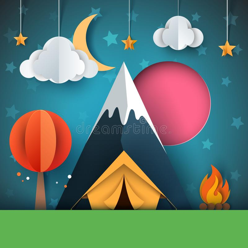 Cartoon paper landscape. Tree, mountain, fire, tent, moon, cloud star illustration. stock illustration