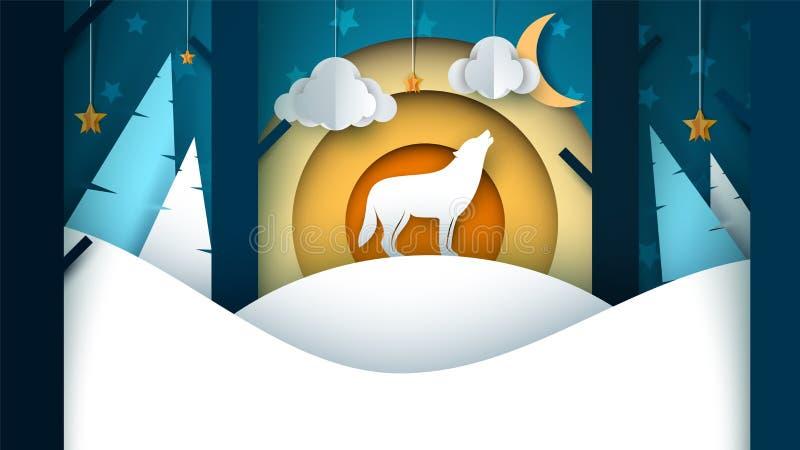 Cartoon paper landscape. Wolf illustration. Tree, fir, cloud, moon, snow, hill. stock illustration
