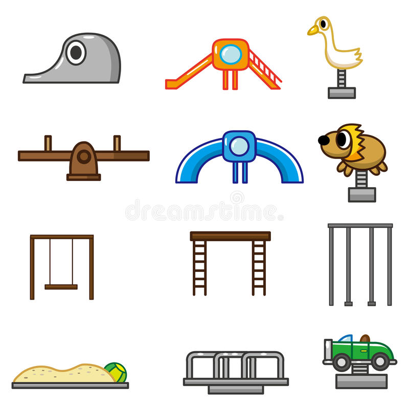 Cartoon park playground icon stock illustration