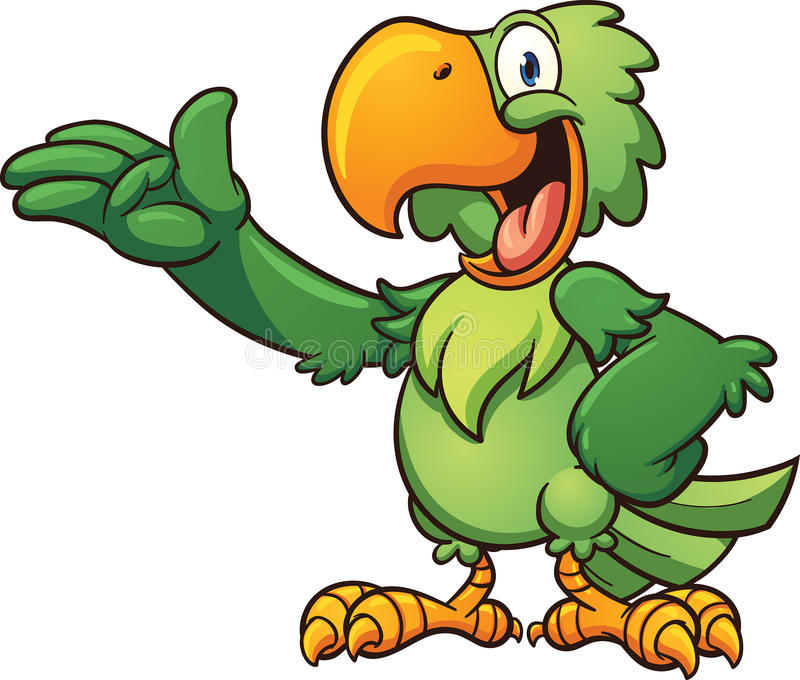 Cartoon parrot. Cartoon green parrot. Vector clip art illustration with simple gradients. Each part on a separate layer vector illustration
