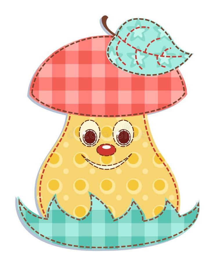 Cartoon patchwork mushroom 1