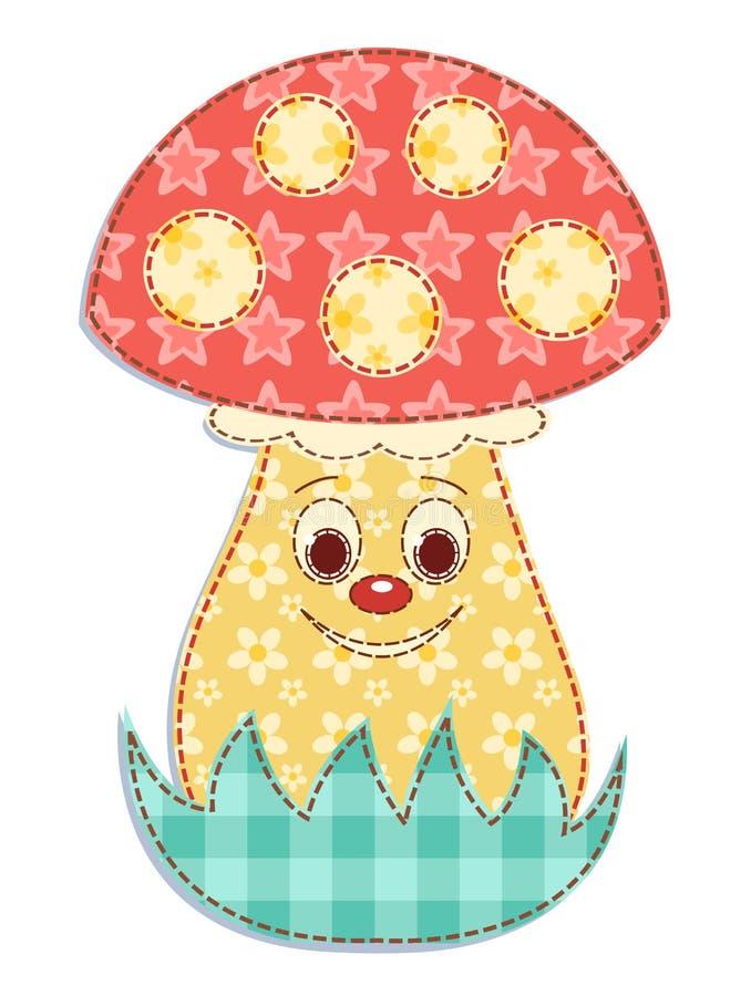 Cartoon Patchwork Mushroom 2 Royalty Free Stock Photography