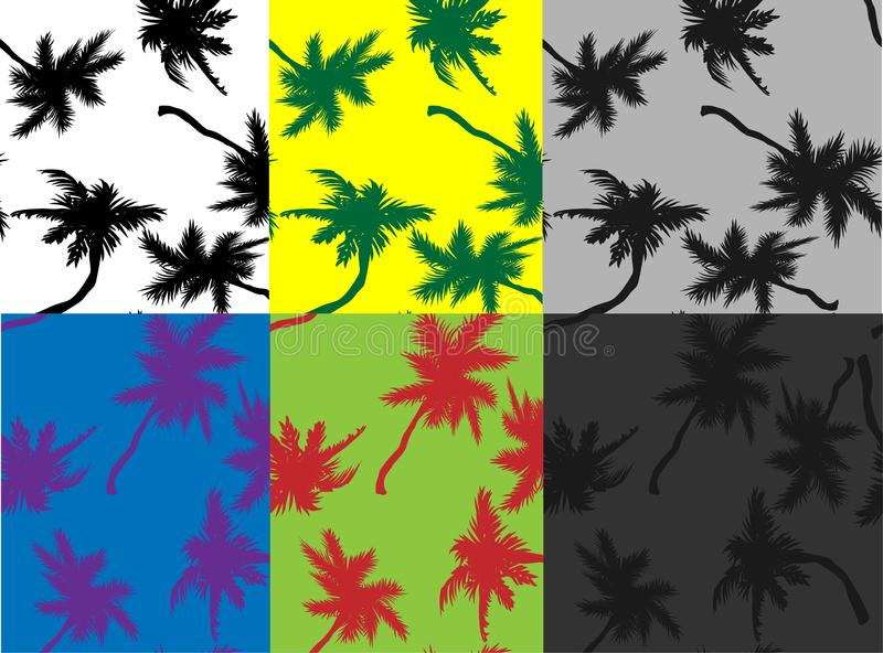Cartoon pattern with black palm trees silhouette seamless. Silhouette vector illustration. Beautiful palm trees Seamless tropical. Pattern. , great design for vector illustration