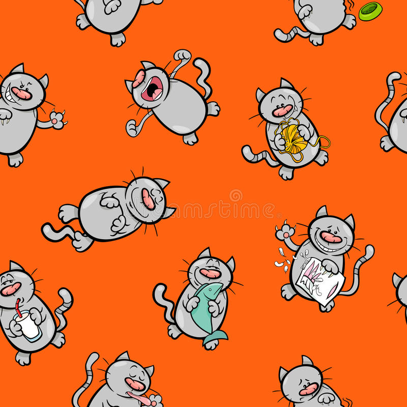Cartoon pattern with cat characters stock illustration