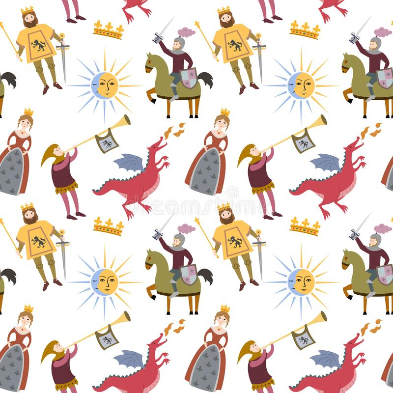 Cartoon pattern with medieval characters on white background. vector illustration