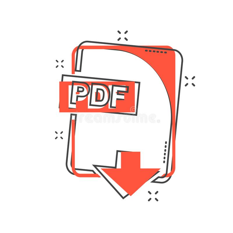 Cartoon PDF file icon in comic style. PDF download sign illustration pictogram. Document splash business concept. stock illustration