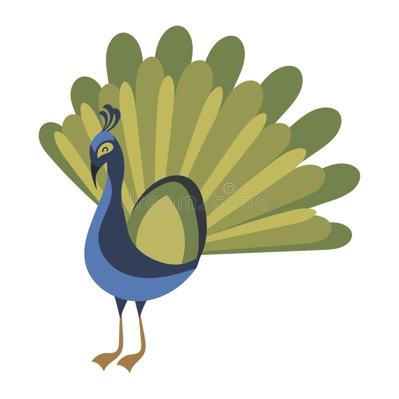 Free Cartoon Peacock. Vector Illustration Of A Cute Peacock. Drawing Birds For Children. Zoo For Kids. Royalty Free Stock Photos - 157651858